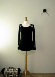 Haut en jersey et dentelle noirs - haut