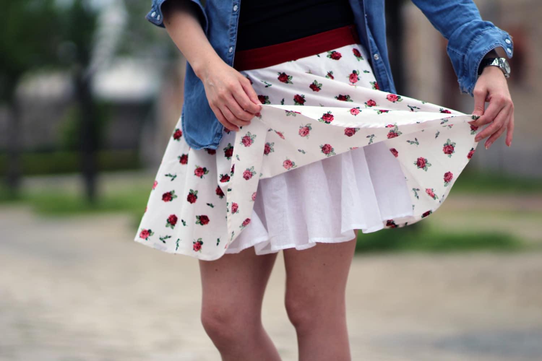 mini jupe circulaire doublure