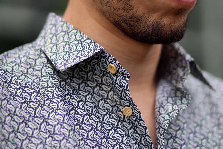 chemise à motifs pour homme - col