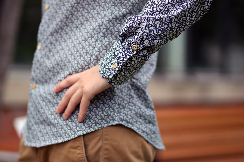 chemise homme à motifs - manche