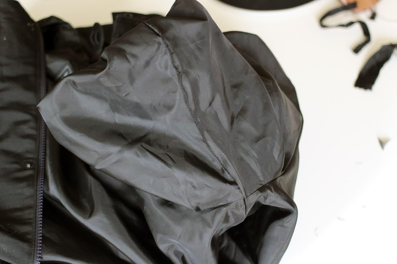 Agrandir une poche, couture manche refermée.
